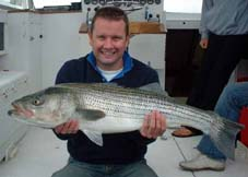 Point Judith Fishing Charter, Striper taken west of the Point.